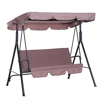 Outsunny 3 Seater Canopy Swing Chair Garden Rocking Bench Heavy Duty Patio Metal Seat w/ Top Roof - Brown