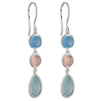Elementen zilveren Fancy Chalcedoon oorbellen - blauw/roze/groen