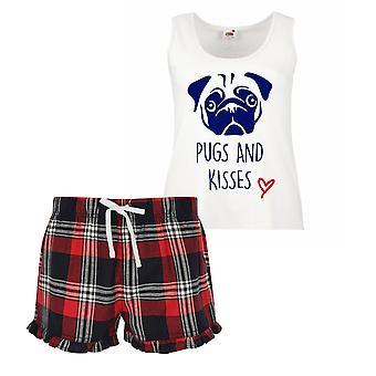Pugs And Kisses Ladies Tartan Frill pigiama corto Set rosso blu o verde blu