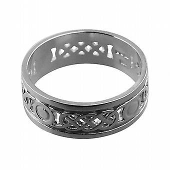 9ct White Gold 8mm pierced Celtic Wedding Ring Size Z+1