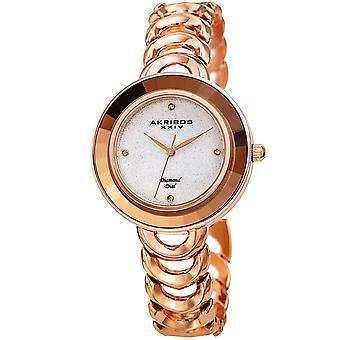 Akirbos XXIV AK1088RG dames diamant paillettes cadran à facettes cristal lunette lien bracelet montre