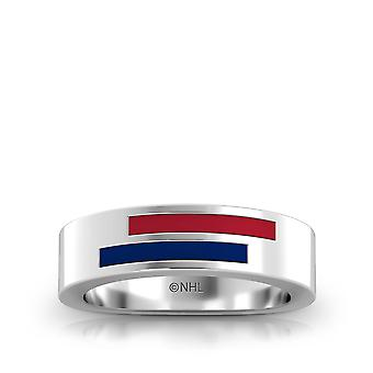 Montreal Canadians Sterling Silver Asymmetric Enamel Ring In Red and Blue