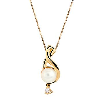 Orphelia 925 Silver Pendant with Chain Yellow Twisted with Freshwater Pearl and Zirconium