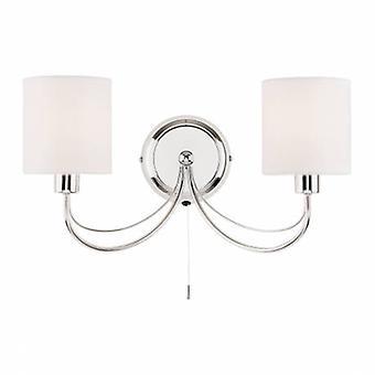 2 luce Indoor lampada da parete cromo, tessuto bianco TC