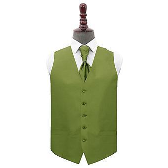 Olive Green Plain Shantung Wedding Waistcoat & Cravat Set