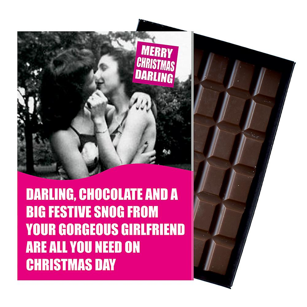Funny Lesbian Christmas Gift For LGBT Civil Partner boxed Chocolate Greeting Card Present CDL157