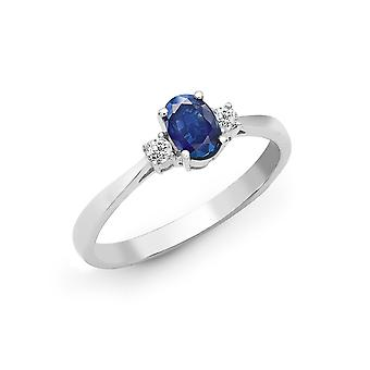 Jewelco London 18ct White Gold 4 Claw Set G SI 0.08ct Diamond and Oval Blue 0.6ct Sapphire Trilogy Engagement Ring 6mm
