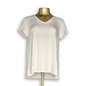 H by Halston Women's Top Essentials V-Neck Tee Pink A306231 #1