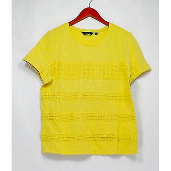 C. wonder top korte mouw SLUB Knit met kant Citrone Yellow A278457