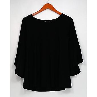 Women with Control Petite Top SP Control Flounce Sleeve Top Black A301384