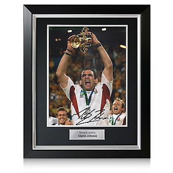 Martin Johnson ondertekende Engeland Rugby foto: Wereldbeker winnaar. In Deluxe frame