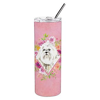 Maltese Pink Flowers Double Walled Stainless Steel 20 oz Skinny Tumbler