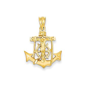 14k Yellow Gold Solid Satin Sparkle-Cut Mariners Cross Pendant - 2.3 Grams - Measures 19.6x28.1mm
