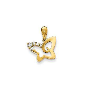 14k Gelb Gold Zirkonia für Jungen oder Mädchen Schmetterling Anhänger