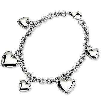 Edelstahl Fancy Hummer Verschluss poliert Liebe Herzen Armband 8 Zoll Schmuck Geschenke für Frauen