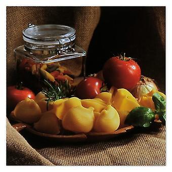 Lienzo, Imagen sobre lienzo, pasta y tomates