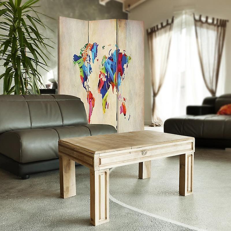 Diviseur de chambre, 3 panneaux, unilatéral, toile, carte du monde colorée