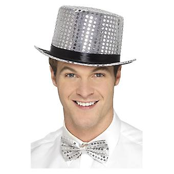 Volwassenen zilveren pailletten Top Hat Fancy Dress accessoire