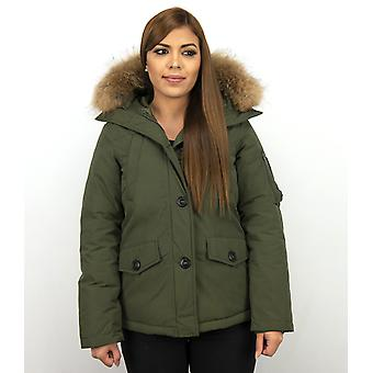 Short Winter Coat - With Fur Collar - Green