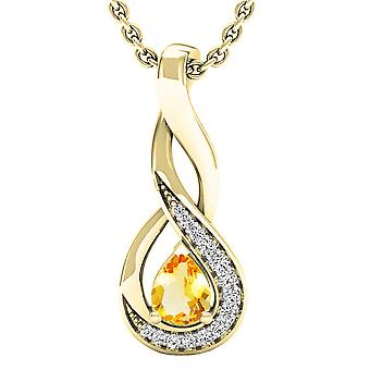 Dazzlingrock Collection 18K 5X4 MM Pear Citrine & Round Diamond Ladies Pendant (Gold Chain Included), Yellow Gold