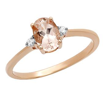 Dazzlingrock Collection 10K 7X5 MM Oval Morganite & Round Diamond Bridal Promise Engagement Ring, Rose Gold