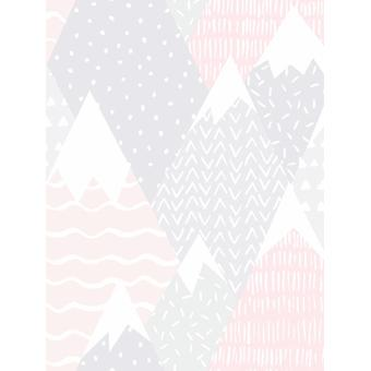 Over de regenboog bergen behang roze Holden 91051