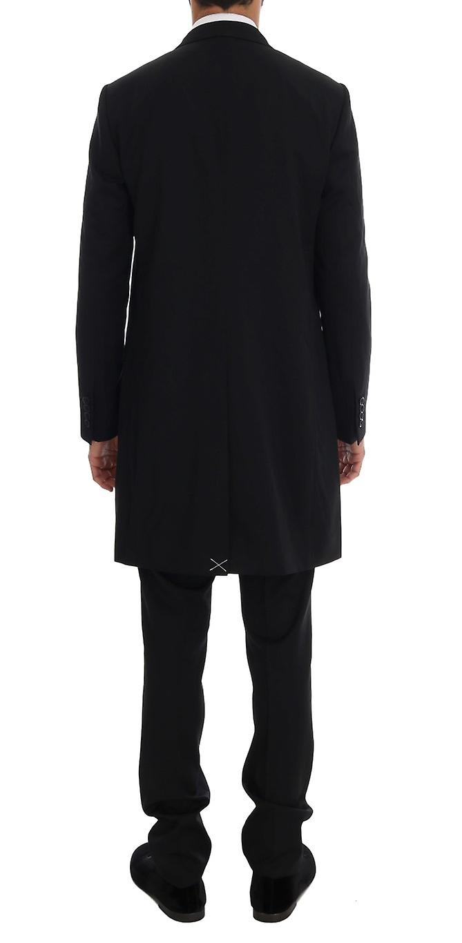 Black Wool Long 3 Piece Two Button Suit
