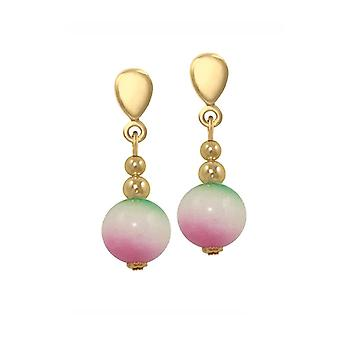 Eternal Collection Essentia Green Pink White Malaysian Jade Gold Tone Drop Clip On Earrings