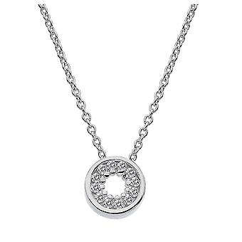 Dew Sterling Silver Small Cubic Zirconia Open Circle 18 Necklace 9397CZ018