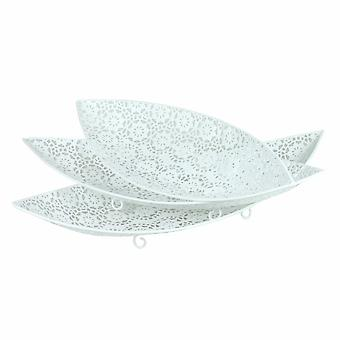 3 Piece Detailed Patterned Metal Tray, White