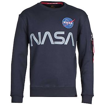 Alpha Industries reflekterande NASA Midnight Navy Sweatshirt