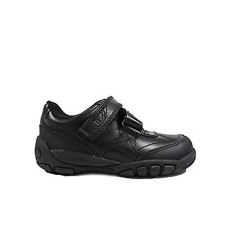 Startrite Extra Time Black Leather Boys Rip Tape School Shoes