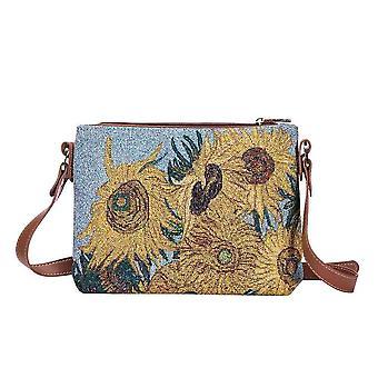 Van gogh - sunflowers shoulder crossbody bag by signare tapestry / xb02-art-vg-sunf