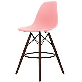 Charles Eames Style Pastel Pink Plastic Bar Stool - Walnut Legs