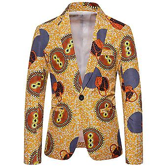 Allthemen Men's Casual One-button National Retro Printed Patterned Blazer