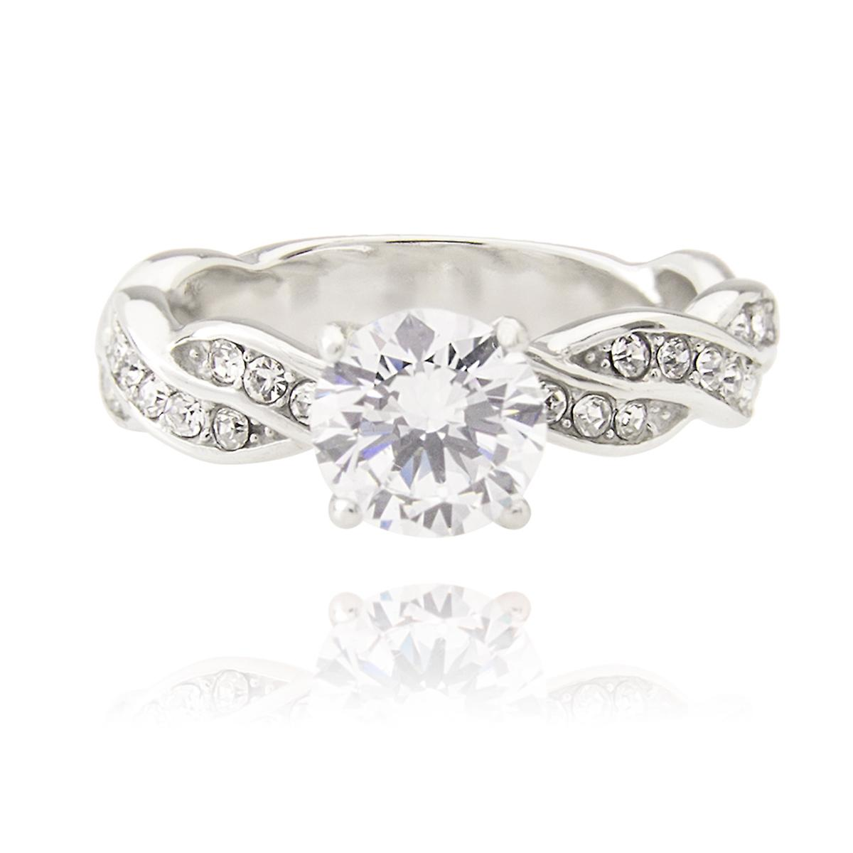 Ah! Jewellery Stainless Steel Simulated Diamond Ring. Brilliant Rounds Entwined Within Each Twist To Give An Elegant Look.