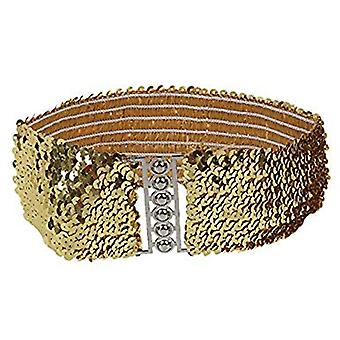 Ladies Sequin Belt Elastic Stretchable Waistband with Stylish Hook Fastening Buckle
