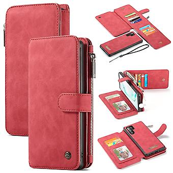 For Samsung Galaxy Note 10+ Plus Case, Wallet PU Leather Flip Cover, Red
