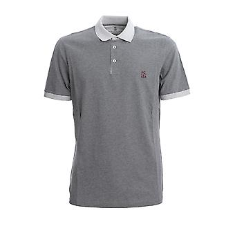 Brunello Cucinelli M0t618357gcu263 Men's Grey Cotton Polo Shirt