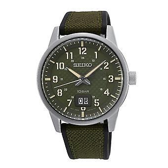 Seiko Uhren Sur323p1 Silber, schwarz & Khaki Silikon Herren's Uhr