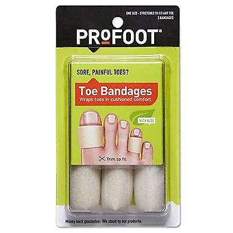 Profoot ellátás lábujj kötszerek, közepes, 4 hüvelykes hosszúságú, egy méret, 3 ea