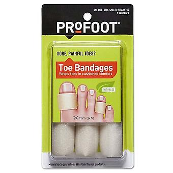 Profoot care toe bandages, medium, 4 inch lengths, one size, 3 ea