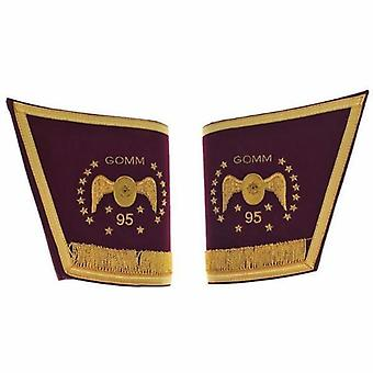 Masonic scottish rite 95th degree gauntlets cuffs - embroidered with fringe
