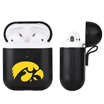 Iowa Hawkeyes NCAA Fan Brander Zwart lederen AirPod Case