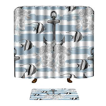 Shower curtain mat combination 2pc