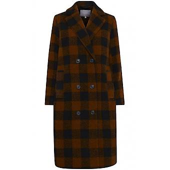 b.young Dark Copper Check Coat