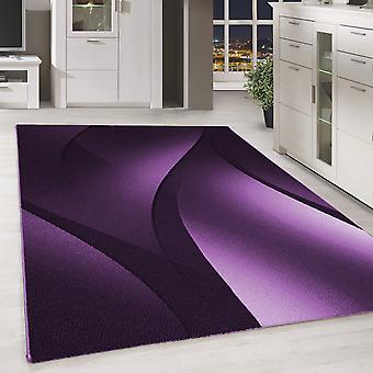 Kort stapel design matta skuggmönster vardagsrum matta lila svart fläckig