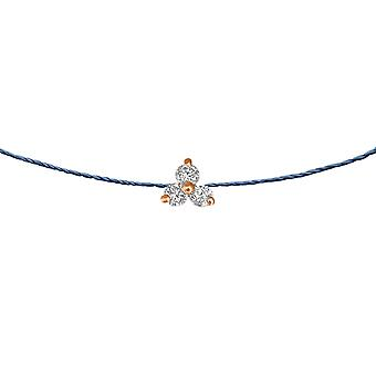 Choker Britney 18K Gold and Diamonds, on Thread - Rose Gold, NavyBlue