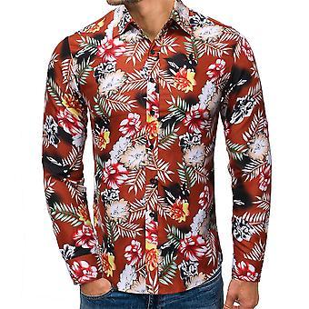 Allthemen Men's Printed Lapel Leisure Non-Pilling Long-Sleeved Shirt