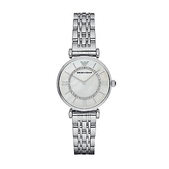 Emporio Armani AR1908 Ladies Gianni T-Bar Silver Watch - Silver